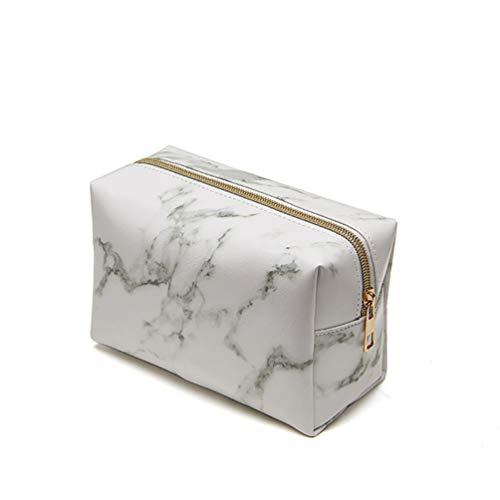 Marmor Make Up Tasche Reise Bürstenhalter Bleistift Aufbewahrungskoffer Kulturbeutel Pu Handtasche mit Gold Reißverschluss für Frauen - Weiß -