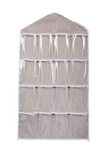 16 Taschen Hängeorganizer Wand hängenden Tasche Beutel Hängeaufbewahrung Aufbewahrungstasche Pouch Organizer Wandtasche Tür hängender Organisator Kleiderbügel Speicherorganisator (Beige)