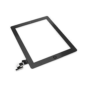 Screenshop® Original iPad 2 Touchscreen Glas Digitizer schwarz inkl. Homebutton u. originalen Aufklebern + Profi Werkzeug GRATIS