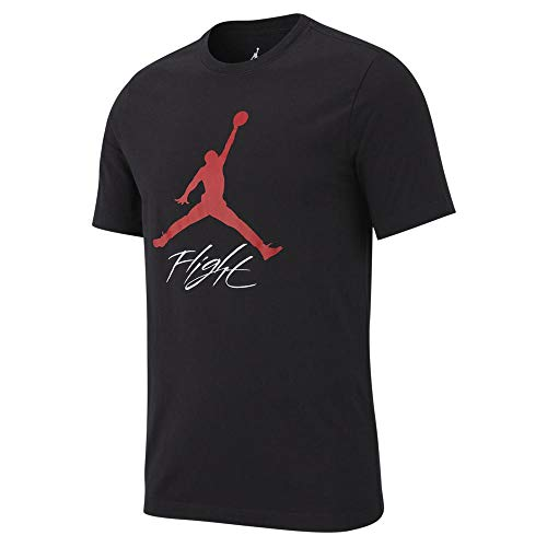 Nike Herren Jumpman Flight HBR Tee T-Shirt, Black/Gym Red, L -