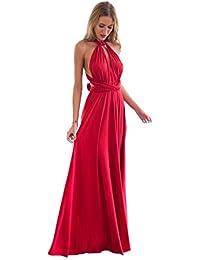 Minetom Donne Elegante Collo V Senza Maniche Halterneck Lunga Vestito  Multi-Usura Trasversale Maxi Abito 863aa26c3af