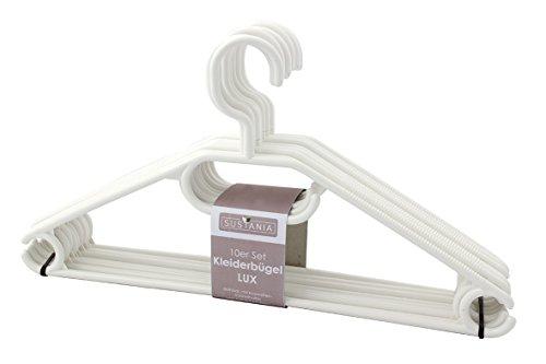 KLEIDERBÜGEL KleBü 20 Stück - Made in Germany | WÄSCHE-BÜGEL ANZUG-BÜGEL aus robustem Kunststoff | Farbe weiß