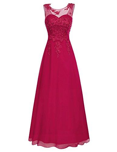 Elegante Kleider 2018 Festkleid Damen Dunkelrot Brautjungfernkleider Lang ärmelloses Kleid 32 CL670-2