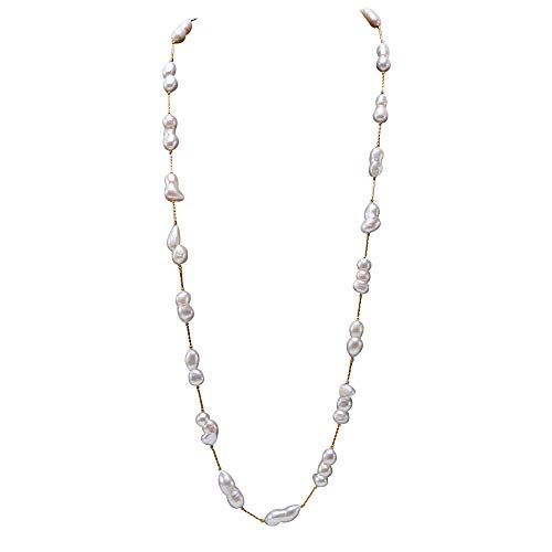 28mm Perle (JYX perlenkette lang barocke perle barock perlenkette weißen Süßwasser Zuchtperlen, 12 × 20-11,5 × 28 mm)