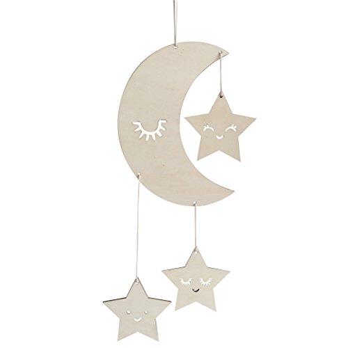 BESTOYARD Holz Hängedeko Mond Sterne mit Augenwimper Gute Nacht Decke Hängen Baby Mobile Kinderzimmer Dekoration