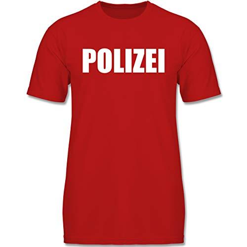 Karneval & Fasching Kinder - Polizei Karneval Kostüm - 128 (7-8 Jahre) - Rot - F130K - Jungen Kinder T-Shirt