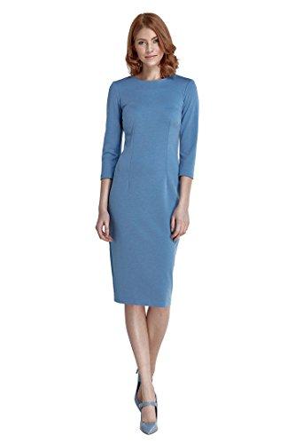 nife – bequemes Etuikleid mit ¾ Ärmeln Business-Kleid Bleistiftkleid Pencilkleid Abendkleid knielang Hellblau