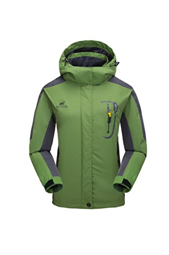 Donna giacca impermeabile -traspirante giacca antivento/ impermeabili escursioni viaggio antivento softshell con cappuccio (verde, xs)