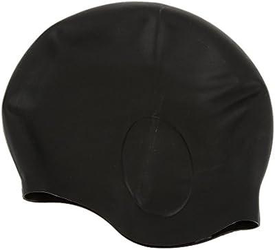 Adulto Silicona Resistente Al Agua Gorro De Baño Elasticidad Flexible De Natación Sombrero Negro