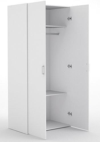 Kleiderschrank Schrank Mehrzweckschrank Schlafzimmer Weiß Weiss 2-Türig |32C