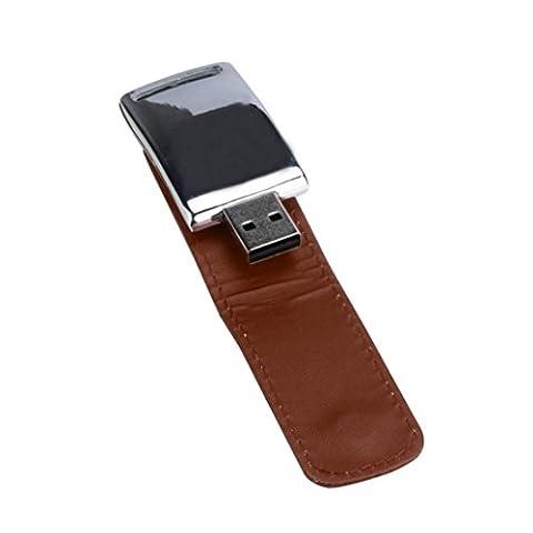 Bluestercool Clé USB 2 Go - 128 Go USB 2.0 Business cuir lecteur Flash mémoire Stick U-disque (8 Go, marron)