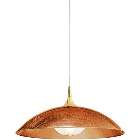 Ciotole lampada a sospensione, 1Luce da parete per colore struttura: oro 24K, dimensioni: 175cm H x 60cm Ø, paralume colore: rame