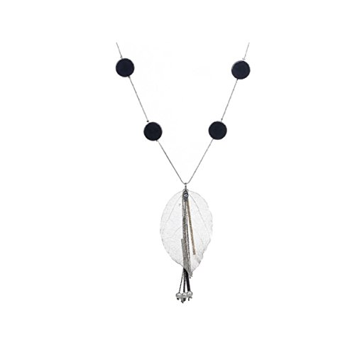 NIUWJ Damenmode Wild Lange Abschnitt Pullover Kette Laub Kreative Einfache Silber - Einfach Kreative Kostüm