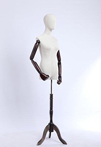 Eurotondisplay Schneiderpuppe, Leinenbezug stoffbezogenen Oberkörper und Kopf,Arme und Finger aus Holz beliebig verstellbar, dunkler Holzstand (B-3-T-G weiblich)