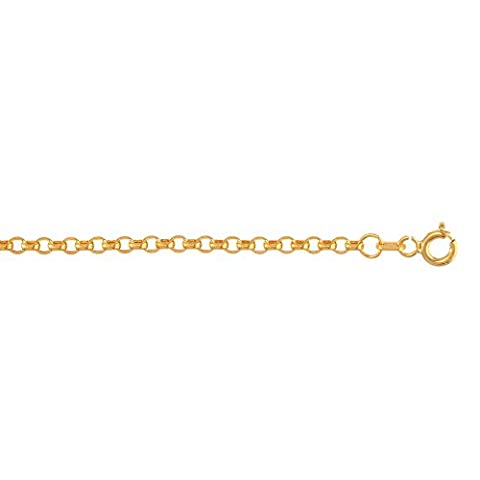 14ct Yellow Gold 2.55mm Diamond-cut Oval Rolo Chain Necklace With Lobster Clasp - 46 Centimeters