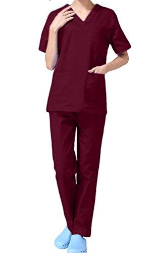 Unisex Schlupfkasack Schlupfjacke Lab Medizin Uniform Scrub Top und Hose Set Berufskleidung CF9027 (2XL, Dunkelrot Damen) Erwachsene Scrubs Top