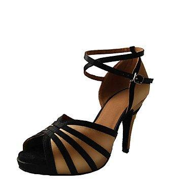 Silence @ Chaussures de danse pour femme en cuir Cuir latine/Salsa/Samba/Chaussures de swing Sandales/talons Stiletto Talon des autres amande