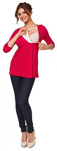 Happy Mama Femme. Top de maternité. T-shirt d'allaitement effet cache-coeur. 372p Framboise