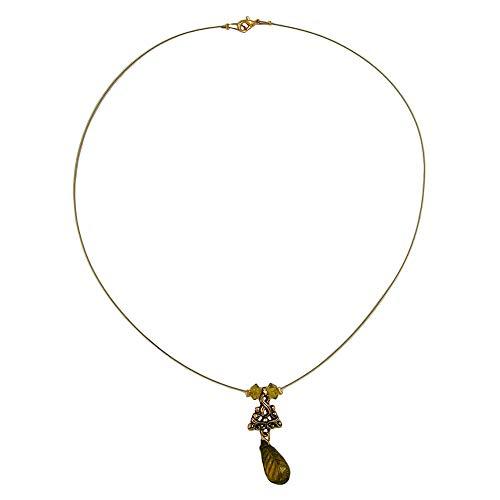 Dreamlife Kette Drahtkette Anhänger Birne Oliv altgoldfarben Ornament Kunststoffperlen 42cm -