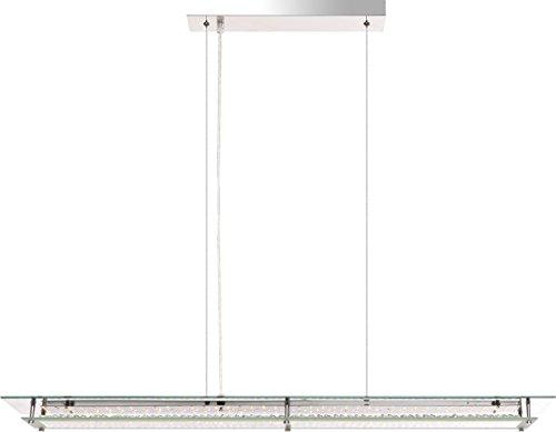 LED Hängelampe Esszimmer Lampe Hängeleuchte Pendelleuchte Glas Kristalle (Pendellampe, Deckenlampe, Deckenleuchte, Wohnzimmer, Esstisch Leuchte, 93 cm, Höhe 130 cm, 20,5 Watt, warmweiß, EEK A+) (Kristall-glas-top-esstisch)