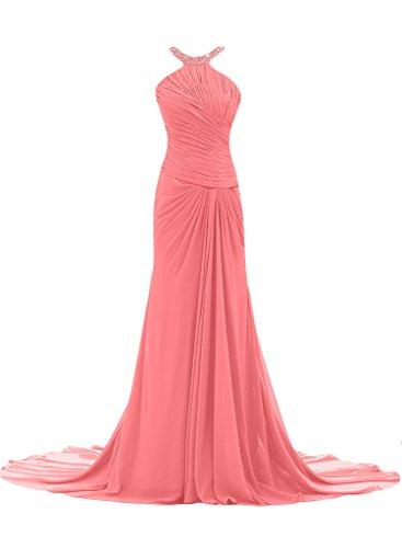 ivyd ressing Femme Ligne étui élégante traîne mousseline Prom robe robe de bal robe du soir Pastèque