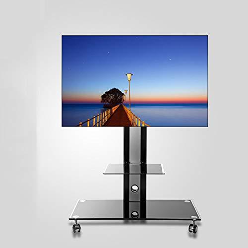 XUE Rolling TV Stand Mobile TV Cart, mit Standfuß aus gehärtetem Glas, 360 oder drehbar, für 32-50 Zoll (32-50 Zoll), zur Verwaltung des Drahtes für Schlafzimmer, Wohnzimmer und Konferenzräume, Büro -