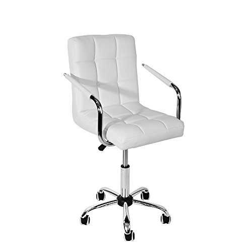 WEIBO Swivel Office Chair, Executive Office Chair Hydraulic Computer Desk Chair with Arms for Office or Conference Room, White