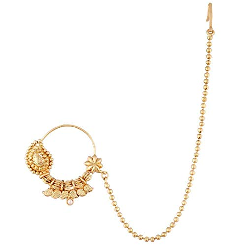 Aheli Schöne Handgefertigte Hochzeitsgesellschaft Tragen Nasenring Nath mit Perlen Kette Traditionellen Schmuck für Indische Frauen
