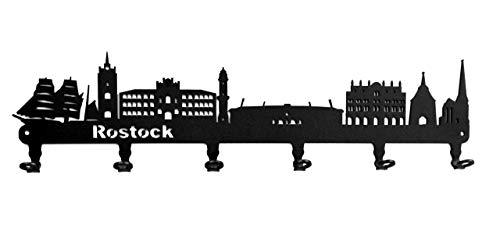 steelprint.de Wandgarderobe - Skyline Rostock - Flurgarderobe - Mecklenburg-Vorpommern - Kleiderhaken, Hakenleiste, Garderobeneiste, Garderobenhalter, Garderobe - Metall, schwarz