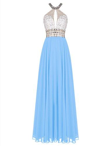 Bbonlinedress Robe de cérémonie Robe de demoiselle dhonneur emperlée forme empire longueur ras du sol Bleu
