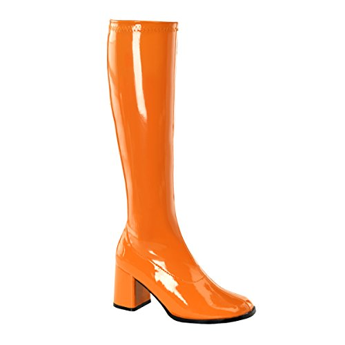 Womens Go-Go Boots - Orange Shoe Size 6 Fancy Dress (Womens Halloween Fancy Dress Uk Kostüme)