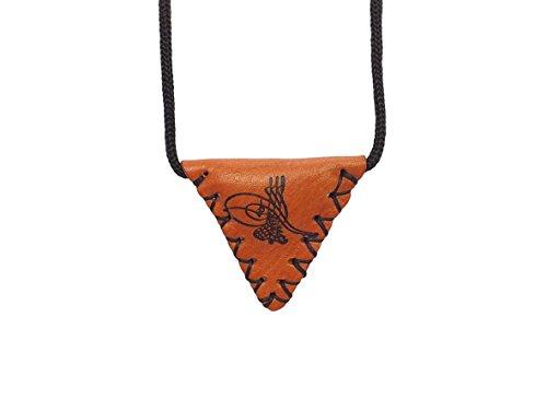 Gök-Türk Halskette 'Muska' aus echtem Leder Tugra Sultans Stempel Osmanisches Reich - Braun