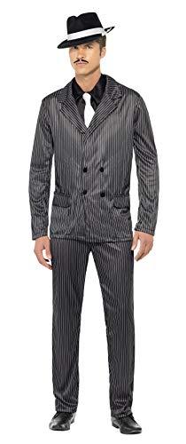 Smiffys, Herren Gangster Kostüm, Nadelstreifen-Jacke und Hose, Hemdfront und Krawatte, Größe: L, - Nadelstreifen Kostüm