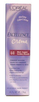 loreal-excellence-creme-color-843-medium-copper-gold-blonde-174-oz-case-of-6-by-loreal-paris-by-lore