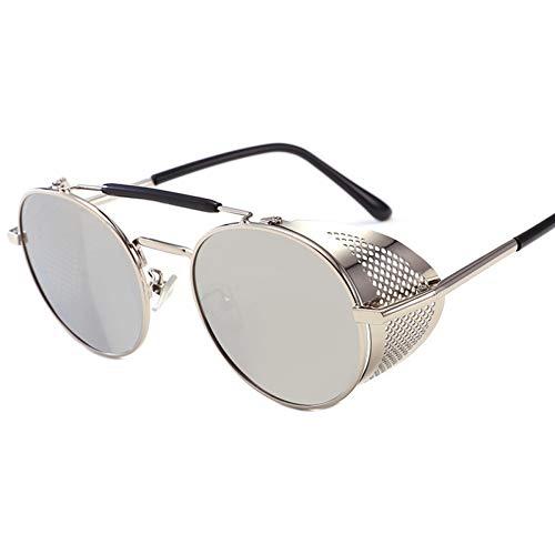 GJYANJING Sonnenbrille Sonnenbrille Damenmode Retro Männer Runde Sonnenbrille Rote Brille Metall Steam Punk Goggles Shades Männer Uv400