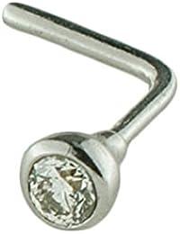 Mia Gioielli - Orecchino Piercing Naso Oro 750 con Brillante cts 0.02 H/SI, Piercing Anallergico, F-05518-0B00