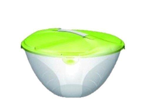 Große Partyschale XXL Salatschale mit 2 Löffeln und verschließbarem grün Deckel von Conny Clever®