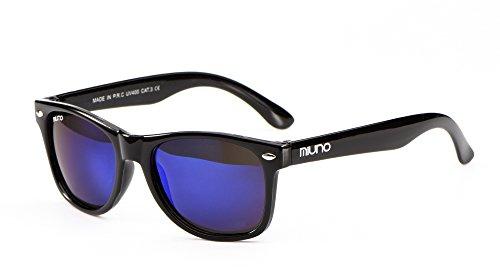 Miuno Kinder Polarisiert Sonnenbrille verspiegelt Polarized Wayfare für Jungen und Mädchen Etui 6833 (Blauverspiegelt)