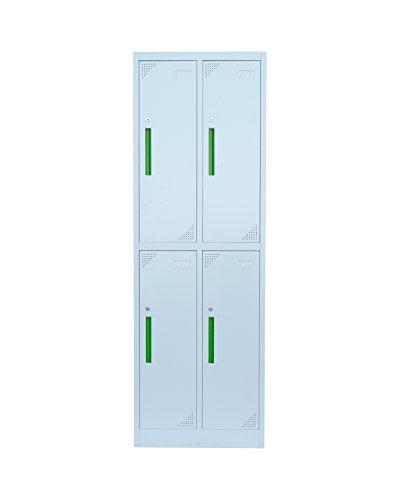 Stahl-Kleiderschrank Garderobenschrank Fächerschrank, 4 Fächer Spind grau 567220