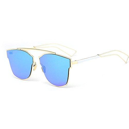 XHCP Frauen Polarisierte Klassische Pilotenbrille, Damenmode Sonnenbrillen Unregelmäßiger Metallrahmen Halbrandlose Cat Eye Sonnenbrille Klassische Fahren Für Dame (Farbe: Blau)