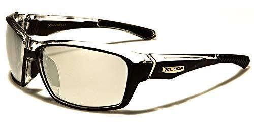 X-Loop Sportbrille Unisex Damen Herren Sport Sonnenbrille Kunststoff Schwarz/Silber Silber verspiegelte Gläser Vollrand mit Brillenbeutel