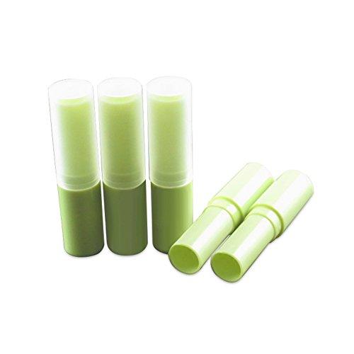 HugeStore Lot de Tubes vides en plastique, 4 ml, pour baume à lèvres, gloss à lèvres, avec bouchons, Plastique, Green, 10 pièces