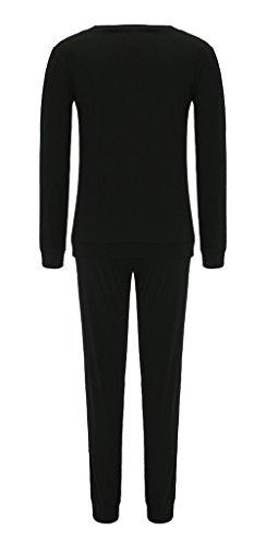 Bigood Combinaison 2 pièce Femme Coton Ensemble Pantalon Top Manche Longue Col Rond Sport Casual Noir