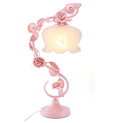 HTL Haushalt Tischlampe, Nachttischlampe , Persönlichkeit Einfache Rosengarten Hochzeitsgeschenk Tischlampe Schlafzimmer Nachttischlampe Kreative Lampe Continental Dekorative Blumen Lesen Nachtlicht
