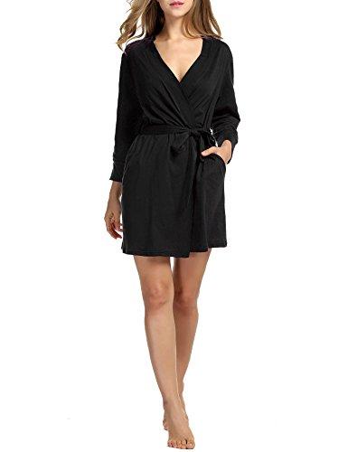 HOTOUCH Damen Morgenmantel Bademantel Nachtwäsche Kimono Saunamantel Mit Tiefer V-Ausschnitt Schlafanzug Aus Baumwolle Typ1-Schwarz