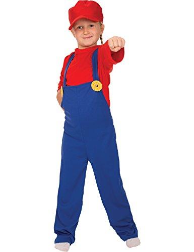 Kind Mädchen Jungen Klempner Superheld 80er Karneval Verkleidung Kostüm (Kostüme Videospiel Für Jungen)