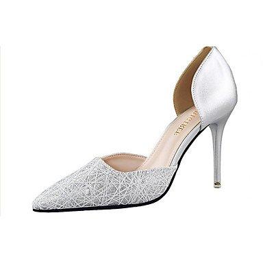 Moda Donna Sandali Sexy donna tacchi tacchi estate pu Casual Stiletto Heel altri nero / blu / rosa / Bianco / argento / Oro Altri Silver