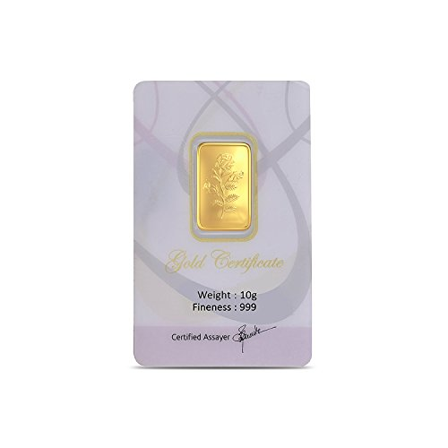 Joyalukkas Assayer Certified 10 grams, 24k (999) Yellow Gold Precious Gold Bar