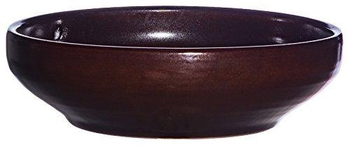 Keramik Pflanzschale Grabschale Deko-Schale rund frostfest Ø 38 x 12 cm, Farbe Effekt braun, Form 039.L38.01 Schale mit Bodenloch - Qualität von Hentschke Keramik