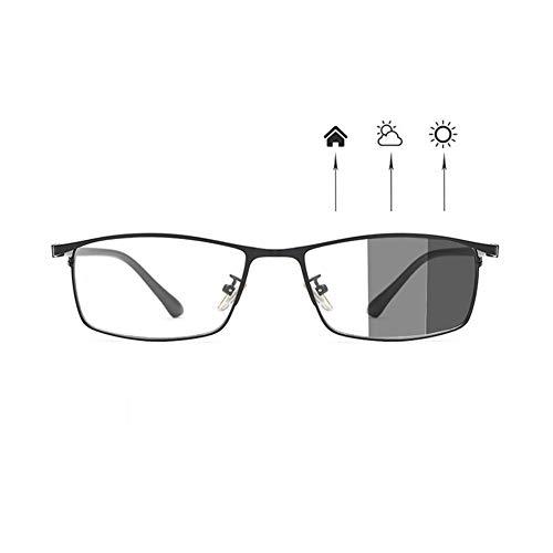 Eyetary Anti Blaulicht Brille Ohne Sehstärke mit Photochrome Sonnenbrille Männer Frauen Nerd Computer Gaming Brille Blaulichtfilter Entspiegelt uv Schutz, Durchsichtig Quadrat Rahmen,Metal&TR90